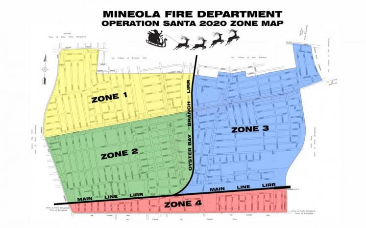 Map of Mineola highlighted into four sections--yellow, green, blue and pink